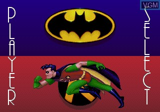 Menu screen of the game Adventures of Batman and Robin, The on Sega Megadrive