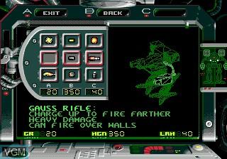 Menu screen of the game Battletech on Sega Megadrive