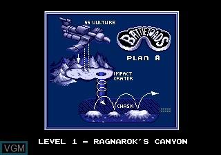 Menu screen of the game Battletoads on Sega Megadrive