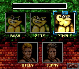 Menu screen of the game Battletoads and Double Dragon on Sega Megadrive