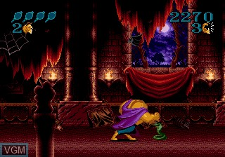 Menu screen of the game Beauty and the Beast - Roar of the Beast on Sega Megadrive