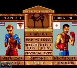 Menu screen of the game Best of the Best - Championship Karate on Sega Megadrive