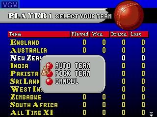 Menu screen of the game Brian Lara Cricket on Sega Megadrive