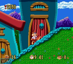 Menu screen of the game Bubsy in Claws Encounters of the Furred Kind on Sega Megadrive