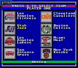 Menu screen of the game Bulls vs Blazers and the NBA Playoffs on Sega Megadrive
