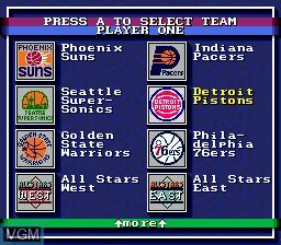 Menu screen of the game Bulls vs Lakers and the NBA Playoffs on Sega Megadrive