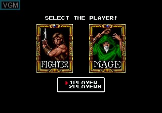Menu screen of the game Cadash on Sega Megadrive