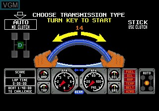 Menu screen of the game Hard Drivin' on Sega Megadrive