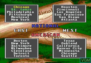 Menu screen of the game HardBall! on Sega Megadrive