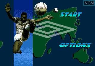 Menu screen of the game Pele's World Tournament Soccer on Sega Megadrive