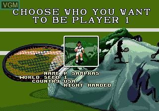 Menu screen of the game Pete Sampras Tennis on Sega Megadrive