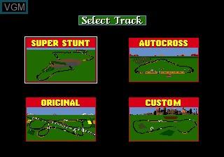 Menu screen of the game Race Drivin' on Sega Megadrive