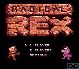 Menu screen of the game Radical Rex on Sega Megadrive