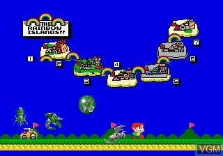 Menu screen of the game Rainbow Islands - The Story of Bubble Bobble 2 on Sega Megadrive