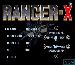 Menu screen of the game Ranger-X on Sega Megadrive