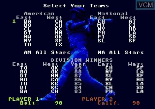 Menu screen of the game RBI Baseball 3 on Sega Megadrive