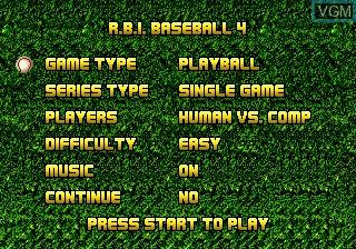 Menu screen of the game RBI Baseball 4 on Sega Megadrive