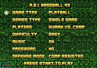 Menu screen of the game RBI Baseball 93 on Sega Megadrive