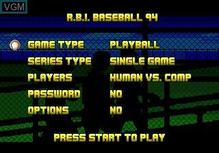 Menu screen of the game RBI Baseball 94 on Sega Megadrive