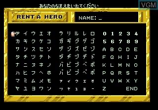 Menu screen of the game Rent A Hero on Sega Megadrive