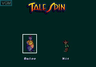 Menu screen of the game Tale Spin on Sega Megadrive