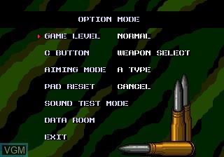 Menu screen of the game Target Earth on Sega Megadrive