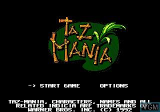 Menu screen of the game Taz-Mania on Sega Megadrive