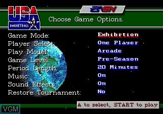 Menu screen of the game Team USA Basketball on Sega Megadrive