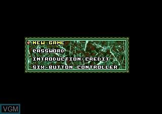 Menu screen of the game Techno Clash on Sega Megadrive
