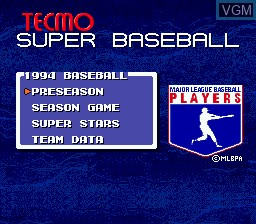 Menu screen of the game Tecmo Super Baseball on Sega Megadrive