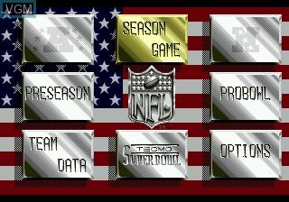 Menu screen of the game Tecmo Super Bowl II SE on Sega Megadrive