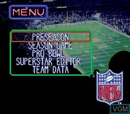 Menu screen of the game Tecmo Super Bowl III Final Edition on Sega Megadrive