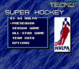 Menu screen of the game Tecmo Super Hockey on Sega Megadrive