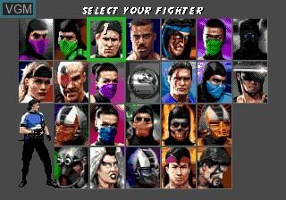 Menu screen of the game Ultimate Mortal Kombat 3 on Sega Megadrive