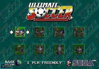 Menu screen of the game Ultimate Soccer on Sega Megadrive