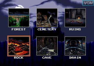 Menu screen of the game Undead Line on Sega Megadrive