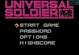 Menu screen of the game Universal Soldier on Sega Megadrive