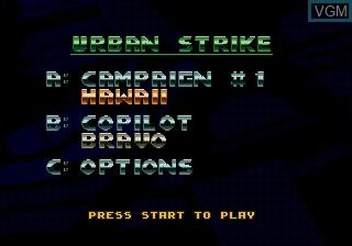 Menu screen of the game Urban Strike on Sega Megadrive
