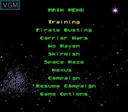 Menu screen of the game Warpspeed on Sega Megadrive