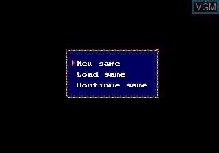 Menu screen of the game Warsong on Sega Megadrive