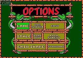 Menu screen of the game Wild Snake on Sega Megadrive