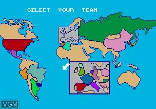 Menu screen of the game World Cup Italia 90 on Sega Megadrive