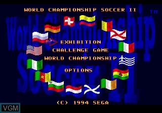 Menu screen of the game World Championship Soccer II on Sega Megadrive