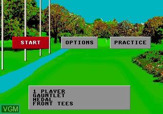 Menu screen of the game World Class Leaderboard Golf on Sega Megadrive
