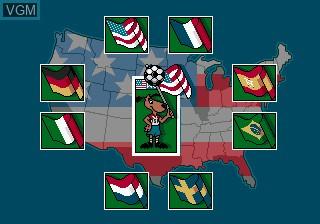 Menu screen of the game World Cup USA 94 on Sega Megadrive