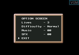Menu screen of the game Young Indiana Jones Chronicles on Sega Megadrive