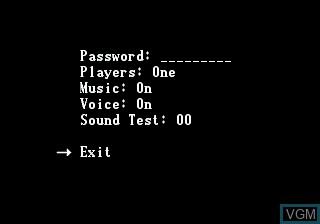 Menu screen of the game Zero Tolerance on Sega Megadrive
