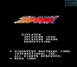 Menu screen of the game Zoom! on Sega Megadrive