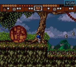 In-game screen of the game 3 Ninjas Kick Back on Sega Megadrive