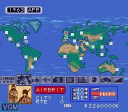 In-game screen of the game Aerobiz on Sega Megadrive
